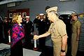U.S. Navy Vice Adm. Robert L. Thomas Jr., foreground right, the commander of the U.S. 7th Fleet, greets Caroline Kennedy, the U.S. ambassador to Japan, aboard the U.S. 7th Fleet command ship USS Blue Ridge (LCC 131217-N-GR655-011.jpg