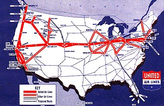 United Airlines - United Air Lines route map, 1940