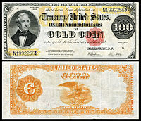 $100 Gold Certificate, Series 1922, Fr.xxxx, depicting Thomas Hart Benton