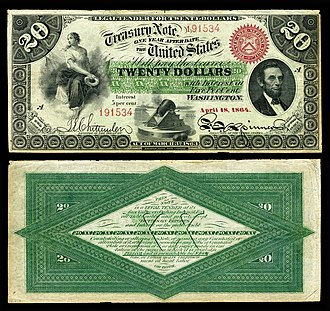 Interest bearing note - Image: US $20 IBN 1864 Fr.197