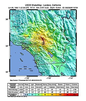 1992 Landers earthquake - USGS ShakeMap for the event