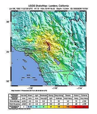 1992 Landers earthquake - USGS ShakeMap for the event