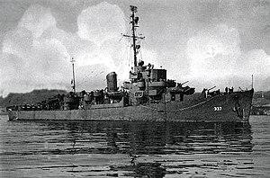 USS Dale W. Peterson (DE-337) entering San Diego Harbor, California (USA), in September 1945