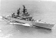 USS Gridley (DLG-21) underway at sea, in the 1960s