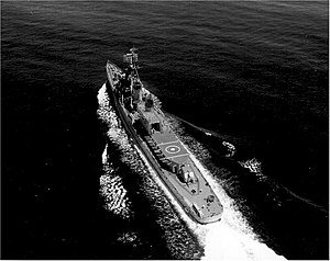 USS Hazelwood (DD-531) underway at sea, in early 1960