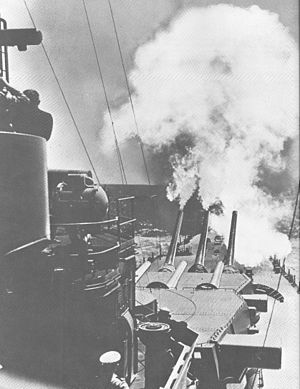 North Carolina-class battleship - Image: USS North Carolina fires over bow