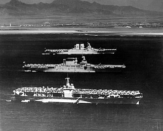 USS Ranger (CV-4) - Ranger (bottom), Lexington (middle), and Saratoga off Honolulu, April 8, 1936