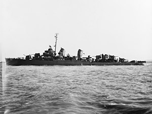 USS Ross (DD-563) underway off Mare Island Naval Shipyard, California (USA), on 27 June 1945 (NH 107271)