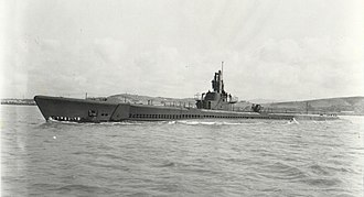 Convoy Hi-81 - Port side view of USS Spadefish in May 1944.