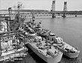 USS Timmerman (EDD-828) and USS Mitscher (DL-2) fitting out at Bath Iron Works in July 1952.jpg