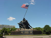 US Marine Corps War Memorial depicts second flag raising on Mount Suribachi