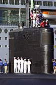 US Navy 040426-N-6268K-026 Sailors aboard the Los Angeles class attack submarine USS Miami (SSN 755), man the rails