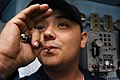 US Navy 040504-N-6278K-076 Boatswain's Mate 3rd Class Rene Reyna, of Donna, Texas, pipes sweepers over the 1MC intercom.jpg