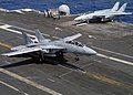 US Navy 040521-N-8948F-001 An F-14 Tomcat makes an arrested landing aboard USS Enterprise (CVN 65).jpg