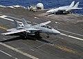 US Navy 040521-N-8948F-001 An F-14 Tomcat makes an arrested landing aboard USS Enterprise (CVN 65).jpg