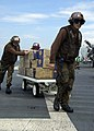 US Navy 050104-N-6074Y-151 Sailors assigned to Carrier Air Wing Two (CVW-2) use a weapons skid to transport boxes of water to an awaiting SH-60 Seahawk helicopter en route to Aceh, Sumatra, Indonesia, carrying relief supplies.jpg