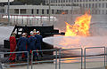 US Navy 050210-N-7615S-072 Sailors assigned to the guided missile destroyer USS Preble (DDG 88) combat a simulated flight deck fire at the firefighting course on board Fleet Training Center, San Diego.jpg