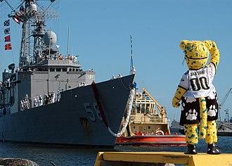 Jaxson de Ville - Jaxson de Ville salutes sailors aboard USS ''Samuel B. Roberts'', September 2007.