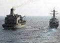 US Navy 080729-N-3392P-034 The guided-missile destroyer USS Ramage (DDG 61) prepares to break away from the Military Sealift Command fleet replenishment oiler USNS Leroy Grumman.jpg