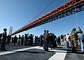 US Navy 081015-N-6208N-019 Sailors aboard the amphibious assault ship USS Bonhomme Richard (LHD 6) watch as the ship passes under the Golden Gate Bridge.jpg