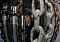 US Navy 090415-N-7280V-124 Seaman Joseph Bean mans a sound powered telephone aboard the amphibious command ship USS Blue Ridge (LCC 19) during a crash and salvage drill.jpg
