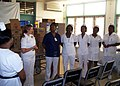 US Navy 090825-N-6121M-011 Cmdr. Kristin E. Jacobsen, commanding officer of the guided-missile frigate USS Hawes (FFG 53), speaks with the nursing staff at St. Ann's Bay Hospital during a community service project.jpg