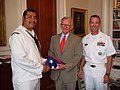 US Navy 100414-N-2888Q-034 Sailors present Charleston Mayor Joseph P. Riley, Jr. with a flag that was flown aboard Pickney.jpg