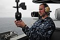 US Navy 100816-N-2918M-042 Aerographer's Mate 3rd Class Shaun Theobald, from Topeka, Kansas, uses a PMQ-3 hand-held.jpg