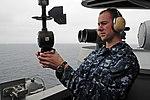 US Navy 100816-N-2918M-042 Aerographer's Mate 3rd Class Shaun Theobald, from Topeka, Kansas, uses a PMQ-3 hand-held.jpg