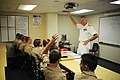 US Navy 100914-N-3271W-083 Rear Adm. William D. French, commander of Navy Region Southwest, speaks with Navy JROTC students at West High School.jpg