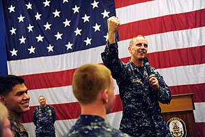 US Navy 120204-N-WL435-561 Chief of Naval Operations (CNO) Adm. Jonathan Greenert holds an all-hands call with Sailors and Marines aboard the amphi.jpg