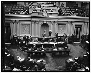 Elmer Thomas - Elmer Thomas (right-center, facing left, with right hand raised) is sworn into the U.S. Senate by then-Vice President John N. Garner in January 1939 after being re-elected in 1938.