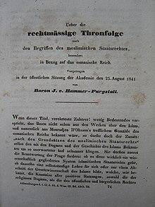 Originaldruck eines Vortrages von J.v.Hammer-Purgstall (Wien 1841) (Quelle: Wikimedia)