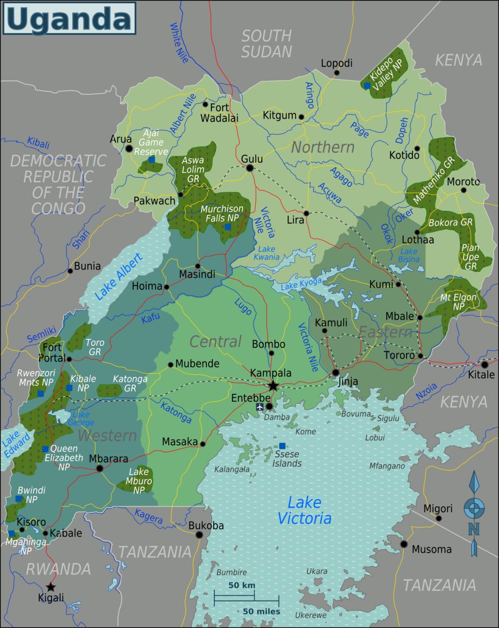 Uganda Regions map