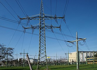 Traction power network - Pylons in a converter plant