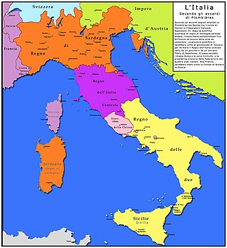 Plombières Agreement - Italian borders believed to have been envisaged by The Plombières Agreement