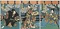 Utagawa Kunisada II - Actors Ichikawa Ichizô III as Tengu Kozô Matsuwaka, Iwai Kumesaburô III as the Courtesan Hanako, and Nakamura Shikan IV as Aso no Matsuwaka.jpg