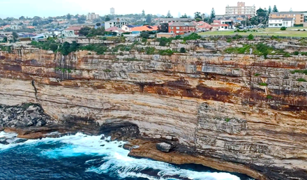 Almost all of the exposed rocks around Sydney are Sydney sandstone. Vaucluse Sydney.png