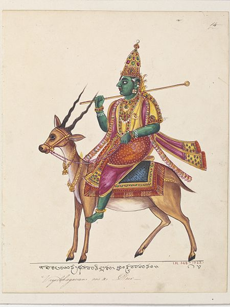 File:Vayu, the god of the wind and guardian of the north-west, riding on a deer..jpg