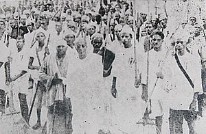 Vedaranyam March - C. Rajagopalachari leading the march along with the volunteers.