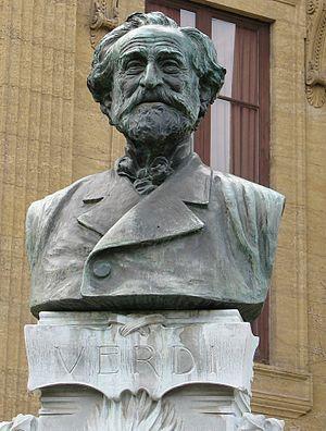 English: Bust of Giuseppe Verdi outside the Te...