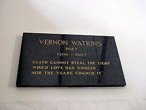 Vernon Watkins - Memorial plaque at St Mary's Church, Pennard