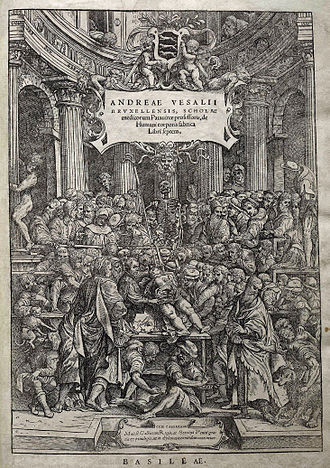 De humani corporis fabrica - Title page. The full title is Andreae Vesalii Bruxellensis, scholae medicorum Patauinae professoris, de Humani corporis fabrica Libri septem (Andreas Vesalius of Brussels, professor at the school of medicine at Padua, on the fabric of the Human body in seven Books).