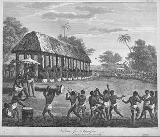 Slavery in Africa - Slaves for sacrifice at the Annual Customs of Dahomey – from The history of Dahomy, an inland Kingdom of Africa, 1793.