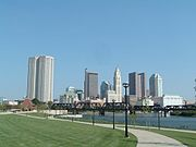 Skyline of Columbus, viewed from North Bank Park