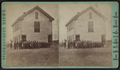 View of a two-story wood-frame school house with students and teachers out front, by H. N. Gale & Co..png