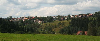 Abertamy - View on Abertamy from a road to Plešivec Mountain