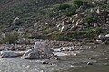 Views around the river, mountains, cemetery, and Ottoman-era fort at Dwin 26.jpg