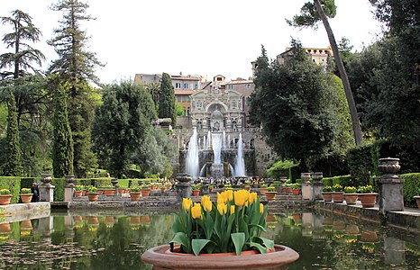 Garden and fountains in Villa d'Este, Tivoli, Italy