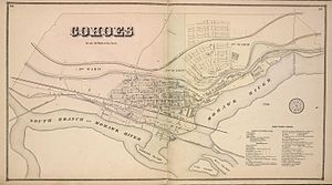 Cohoes, New York - Map of the village of Cohoes in 1866. North is to the right.